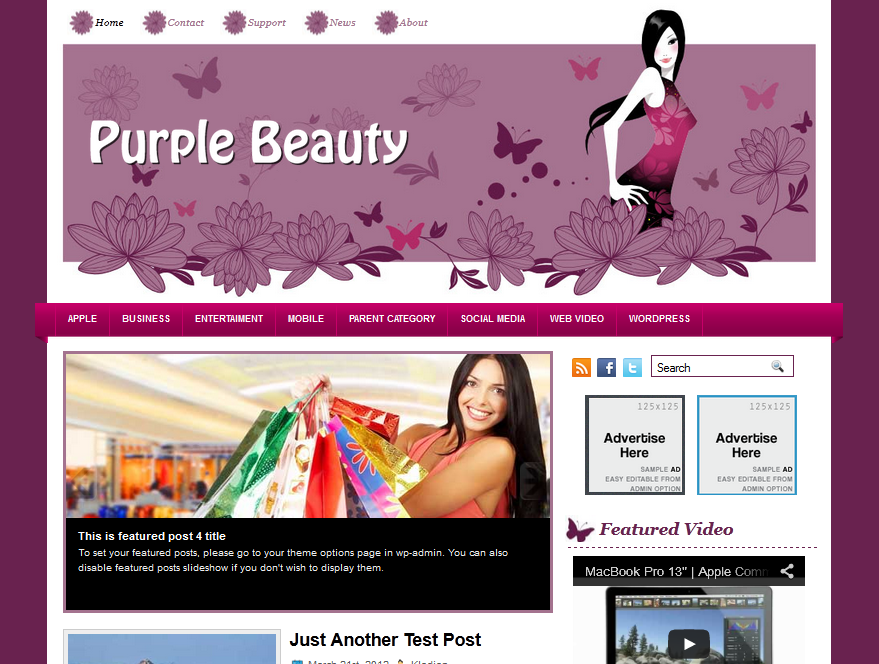 Purple WordPress Themes Premium Wordpress Theme Purple Beauty - WpThemes4Free.com
